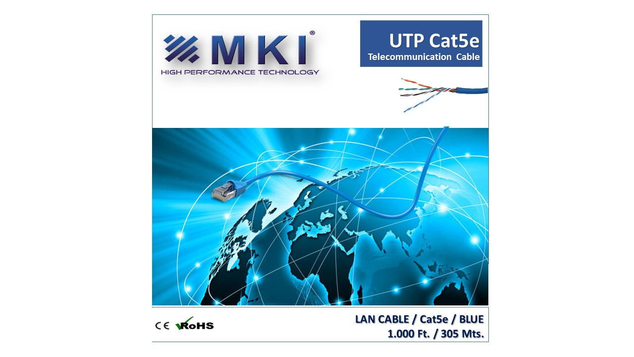 Network Cable,UTP,Cat5e, 4pairs,Blue Pvc,0.5mm*2*4,CCA-Box 305mts/1000ft