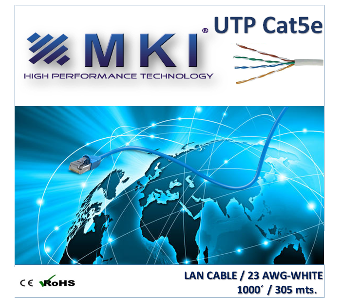 Network Cable,UTP,Cat5e, 4pairs,White Pvc,0.5mm*2*4,CCA-Box 305 mts/1000ft