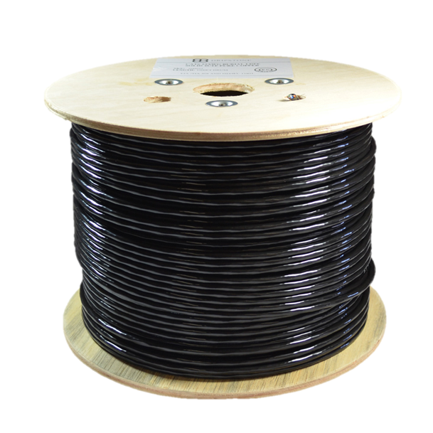 Network Cable,UTP,Cat5e, 4pairs,Outdoor,0,5mm*2*4 CCA Double Jacket, Black Pvc-Roll 305mts/1000ft