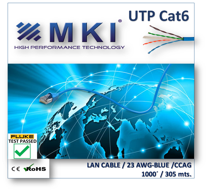 Network Cable,UTP,Cat6,ccag ,4 Pairs x 0,58mm, Blue Pvc  Fluke Test Passed-Box 305mts/1000ft