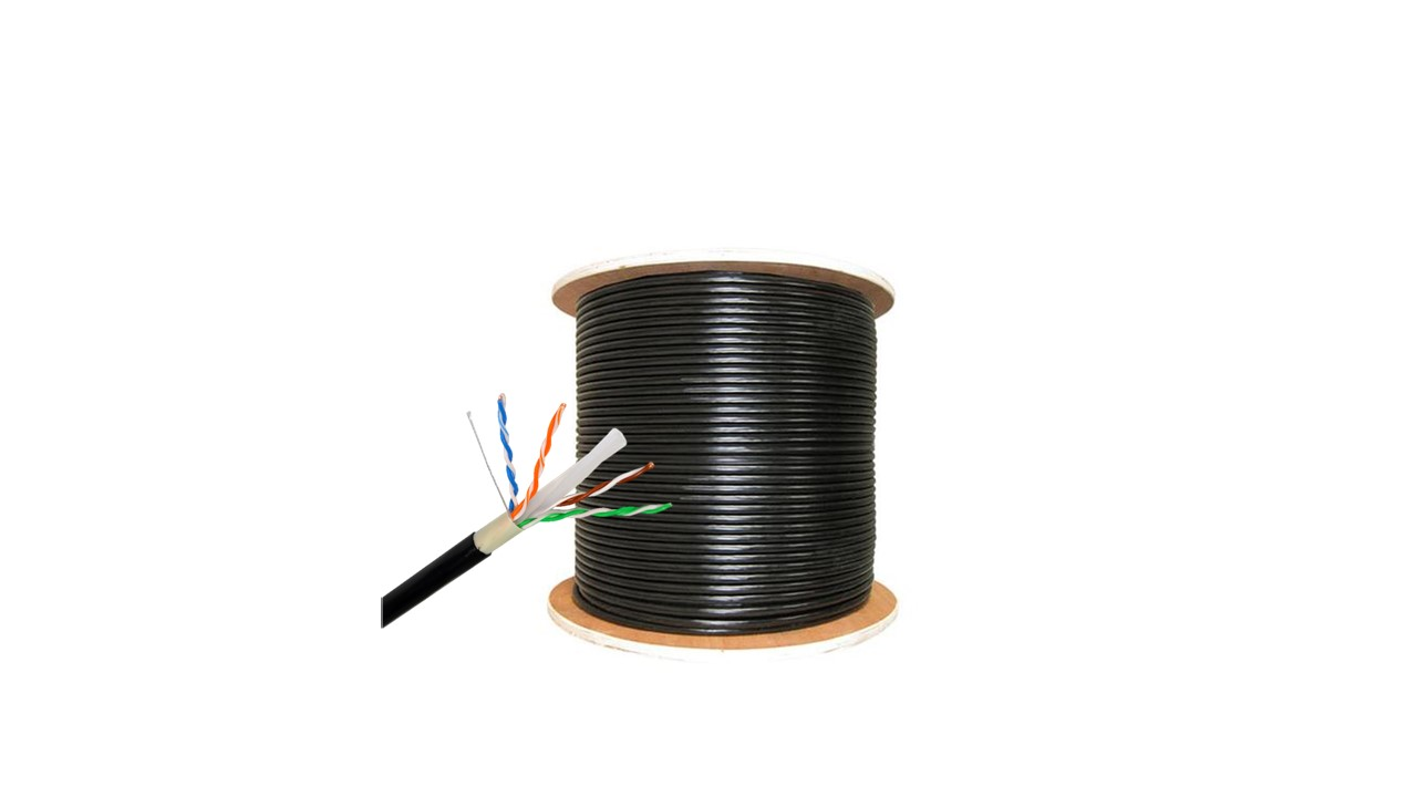 Network Cable,UTP Cat6e Outdoor,4 pairs,0,57mm *2*4 100%CU PASED FLUKE TEST, Double Jacket ,Black Pvc-Roll 305mts/1000ft