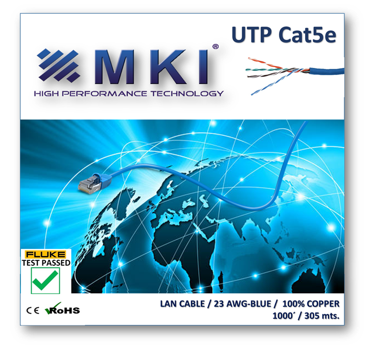Network Cable,UTP Cat5e,4pairs, Blue Pvc 0.48mm*2*4 .100% Cooper.Passed Fluke Test - Box 305mts/1000ft
