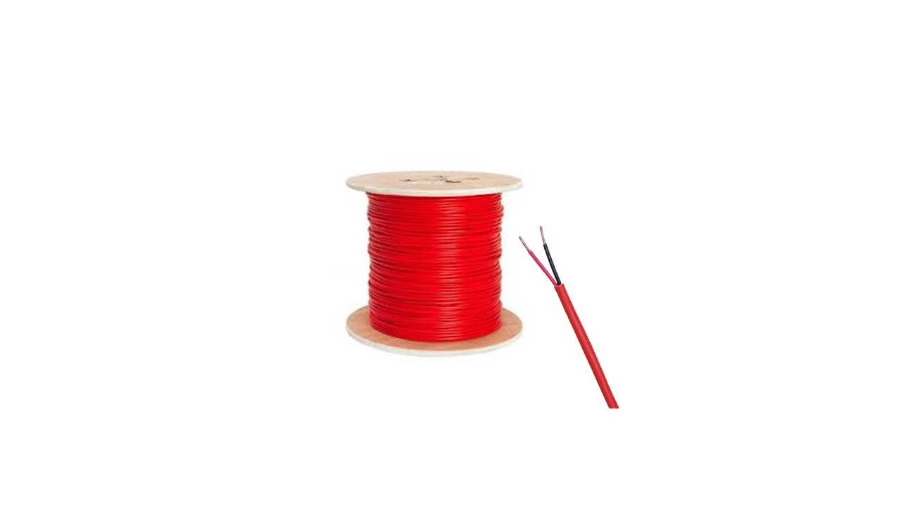 Fire Cable  FPLR 2 x 18 UL 1424,UL 1666,NEC,ETL,ISO9001.2 Cond x 18Awg ,Red Pvc (RED,BLACK) - Box 305mts/1000ft