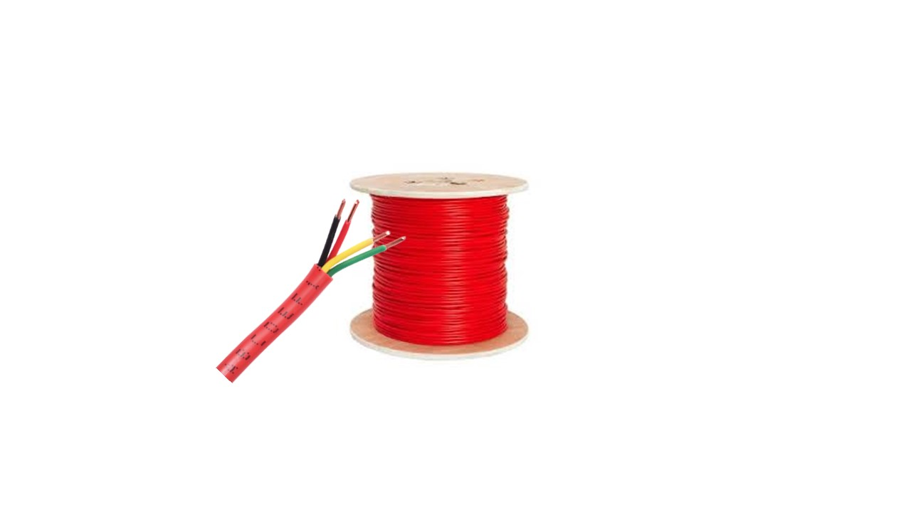 Fire Cable  FPLR 4 x 18 UL 1424,UL1666,NEC,ETL,ISO 9001,4Cond X18Awg , Red Pvc (R,B,W,G) -Box 305mts/1000ft