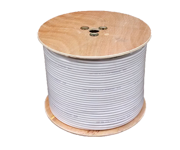 Coaxial cable RG6 1.02MM Copper center, 90% aluminum mesh, white color.305mts/1000ft/WOODEN ROLL